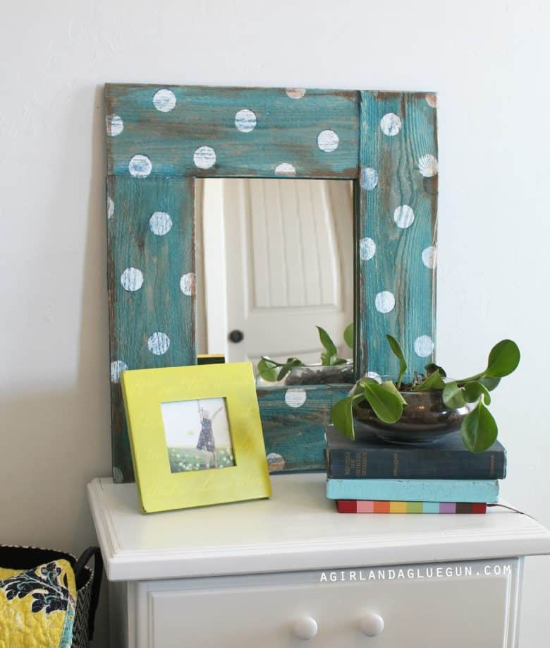 Polka Dot Mirror Forget boring mirrors, transform an inexpensive dollar store mirror into a work of art. This polka dot mirror is easy to make and is perfect for a beginning DIY'er. thesawguy.com