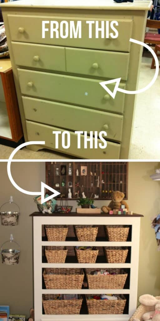Worn dresser to cottage bookshelf - These furniture hacks will turn outdated and old furniture into treasured pieces. From little to no money you can have creative furniture statements throughout your home. thesawguy.com