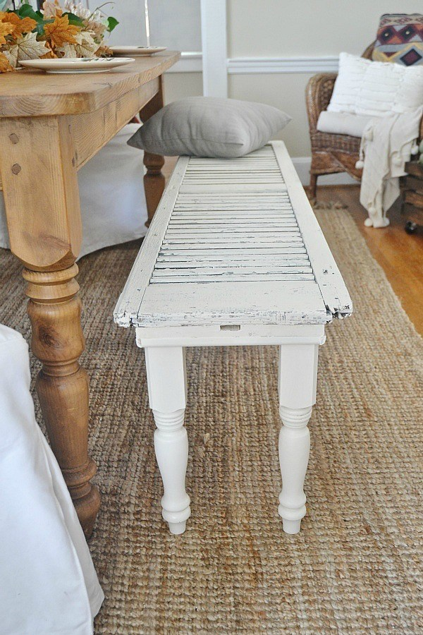 Rustic Shutter Bench Wow, this rustic shutter bench is incredible! The distressed white paint adds a romantic touch that will go with your decorating style. If you want to make something unique that no has, then this is the one! Give it a try and let us know how it turned out. thesawguy.com