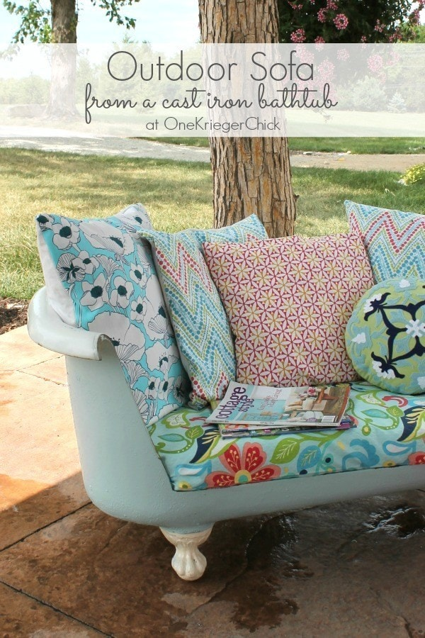 Cast Iron Bathtub Sofa This idea is so creative and unique! Take a look at this guide on how to make a cast iron bathtub outdoor sofa. You can change out the pillows for different seasons and add as much color as you like.thesawguy.com