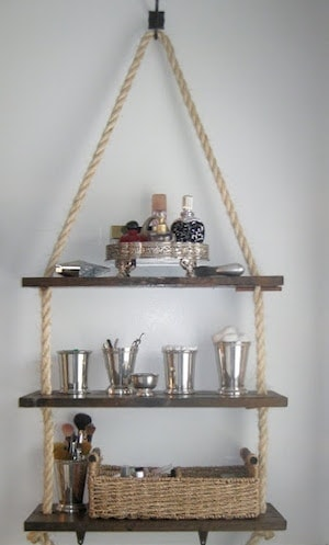 DIY Hanging Shelving Is there anything more rustic than dark stained wood and rope? This stunning shelving is perfect for your next project. The hardest part is going to be deciding where to hang it at! You are going to love it! thesawguy.com