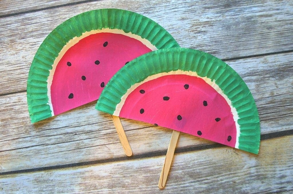 DIY Paper Plate Watermelon Fans In the heat of the summer, you can cool off with a DIY paper plate watermelon fan. The fans are festive and can be made just in time for the sweltering summer months. thesawguy.com