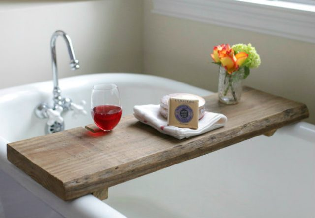 Rustic Bath Caddy Relax in a tub filled with steaming hot water and an easily accessible rustic bath caddy. Perfect for having a place for your glass of wine, body wash, or even a good book. all you need is reclaimed wood and a few other supplies and then you can make your own! thesawguy.com