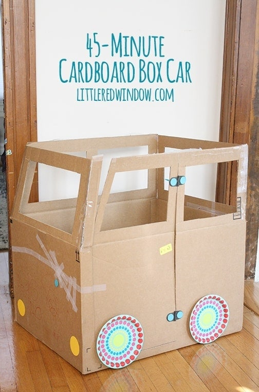 Cardboard Box Car You will be the coolest person ever in the eyes of your kids if you help them make a cardboard box car. Oh, the hours of playing they will enjoy! The best part is that it only takes around 45 minutes to complete the project.  thesawguy.com