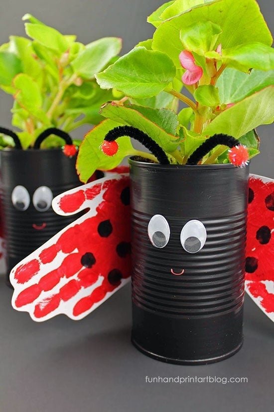 Ladybug Plant Holder Make this fantastic ladybug plant holder out of a recycled tin can. Plus, the wings are made from tracing your little one's hands. There can't be anything more adorable!  These would make wonderful May Day gifts too. thesawguy.com