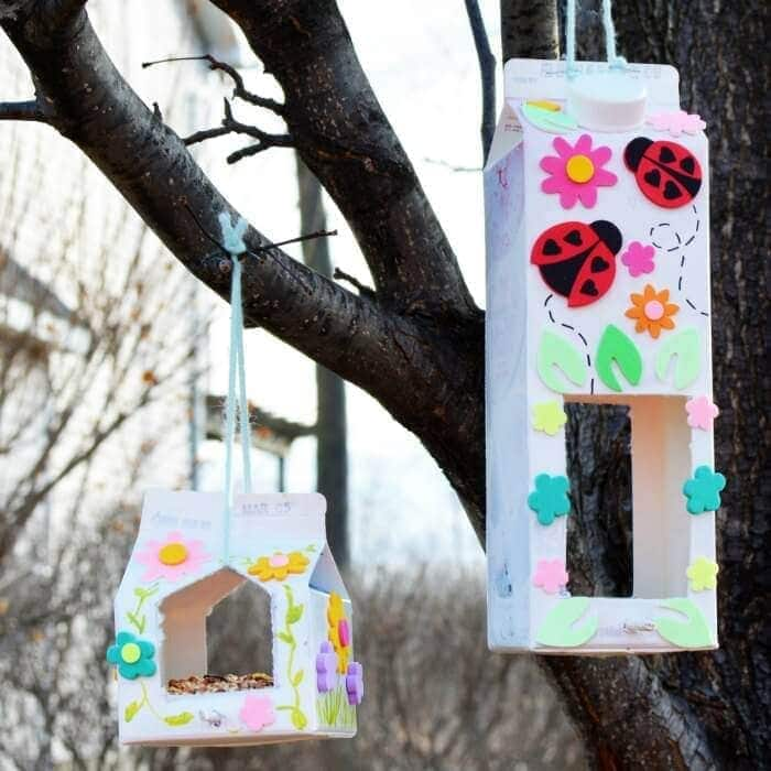 Homemade Bird Feeder Make a homemade bird feeder out of milk cartons. Add as much pizzazz, stickers, and bling as you wish. Each one can be completely different and unique. Get the kids together and get to work being creative. thesawguy.com