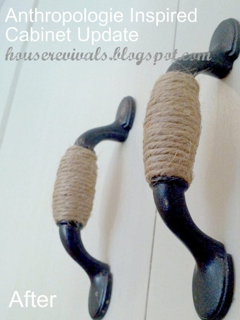 DIY Twine Wrapped Handles We all know how expensive cabinet hardware can be, so use some twine and create beautiful rustic hardware with minimal effort. Give your kitchen or bathroom a facelift with this unique ideas. thesawguy.com
