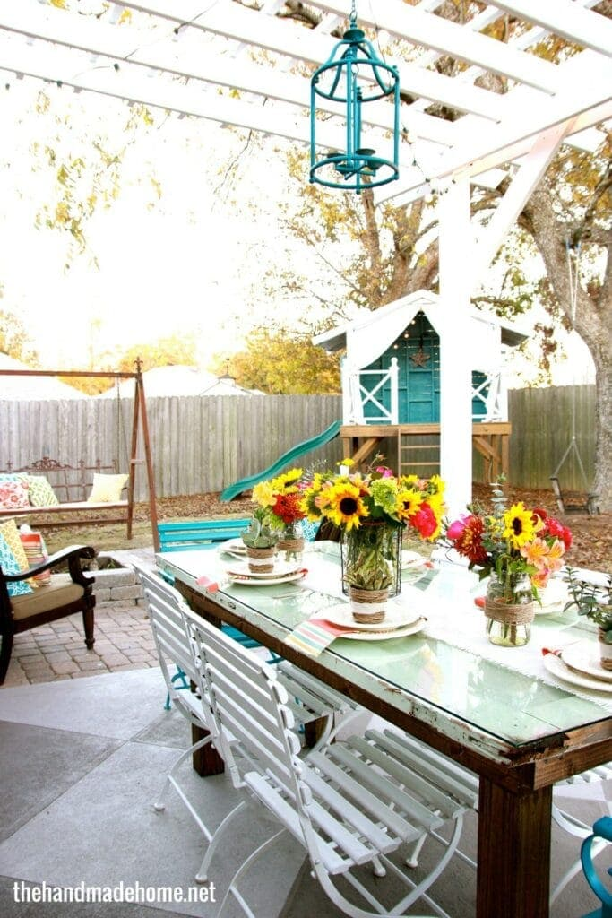 DIY Table From Old Door Turn an old door into an awesome outdoor dining table. Gather around the table for your next outdoor party and all your guests will be shocked you made it! The best part is you only need a few supplies and very few tools.