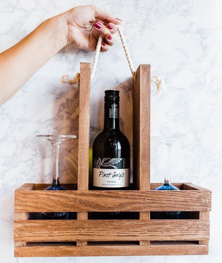 This elegant wine caddy kit is perfect for a first-time project. Everything comes pre-cut and pre-drilled for easy assembly. You should try it! thesawguy.com