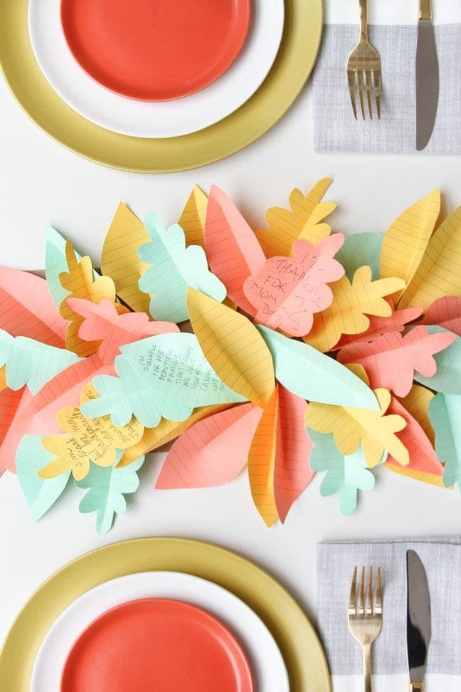 Paper Leaf Table Runner: These 25 Thanksgiving Crafts for Kids will get everyone into the thanksgiving spirit.