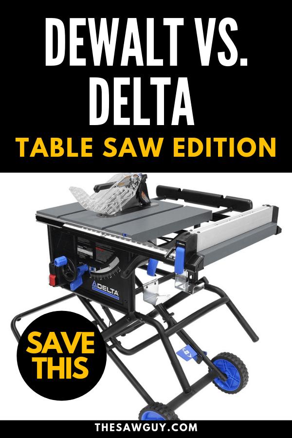 Dewalt vs. Delta Table Saw Edition Pinterest Image