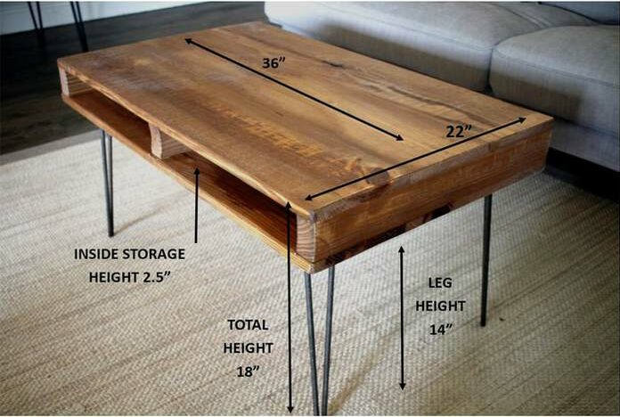 pallet coffe table dimensions