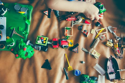 Organize toys by Color, Size, or Shape